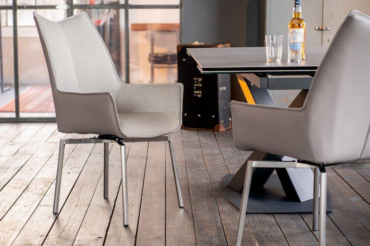 KAWOLA Esszimmerstuhl »STINE« Stuhl mit Drehfunktion Kunstleder grau online kaufen | OTTO
