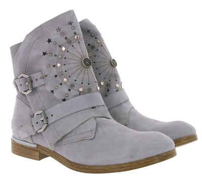 Arizona »ARIZONA Schuhe Stiefel bequeme Damen Echtleder-Boots mit Ziersteinen Stiefelette Hellgrau« Stiefelette