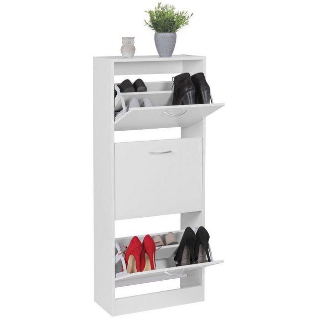 Schuhschränke und Kommoden - FINEBUY Schuhkipper »FB45029«, Schuhkipper mit 3 Fächern für 18 Paar Schuhe Moderner Schuhschrank in Weiß Schuhkommode 50 x 24 x 125 cm  - Onlineshop OTTO