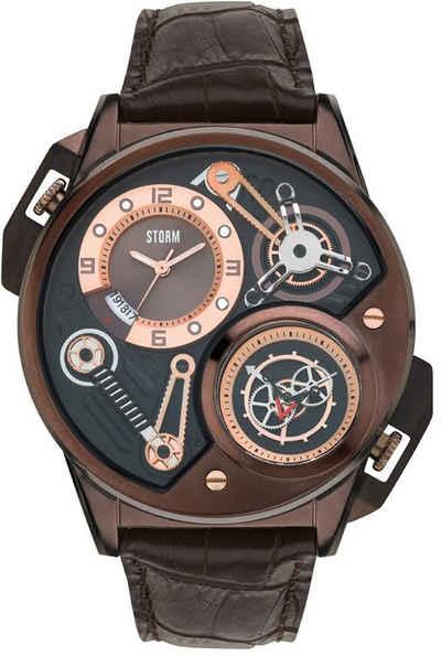 STORM Chronograph »UST47239/BR Storm Herren Armband-Uhr braun«, (Analoguhr), Herrenuhr rund, extra groß (ca. 53mm), Edelstahl, Lederarmband, Luxus-Style