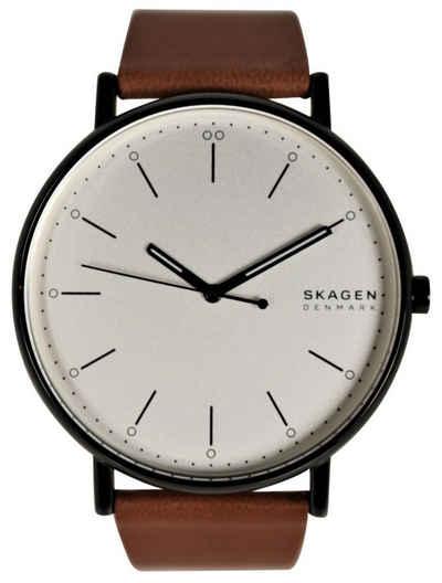 Skagen Quarzuhr »Herren Armbanduhr SKW6550 Signatur, Leder braun, Zifferblatt weiß, Edelstahl schwarz«