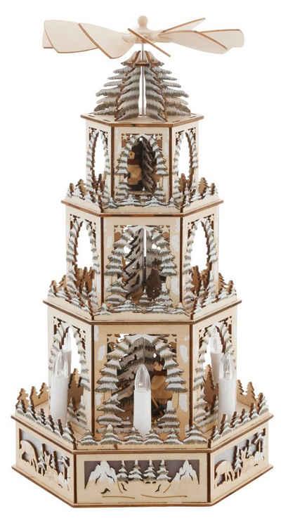 Weihnachtspyramide, mit LED Beleuchtung und beweglichen Figuren, Höhe ca. 48 cm