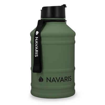 Navaris Trinkflasche, 2,2 Liter Wasserflasche - XXL Gym Bottle - Sport Flasche Wasserflasche Water Jug - stabile Sportflasche aus Edelstahl
