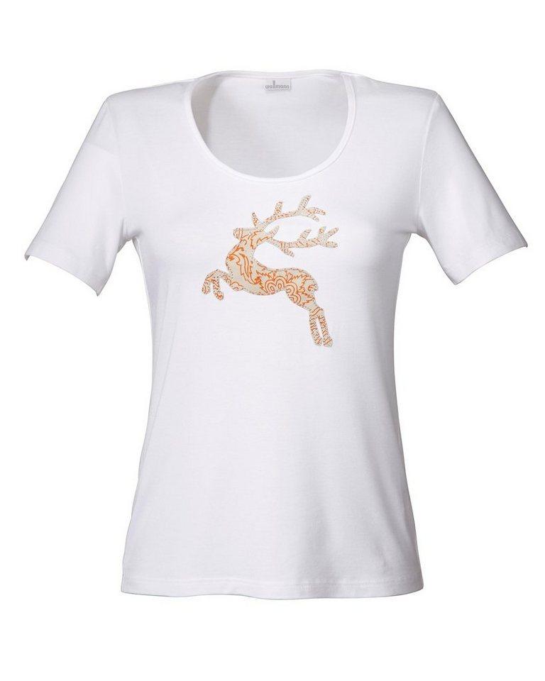Wallmann Shirt mit Hirsch in Weiß