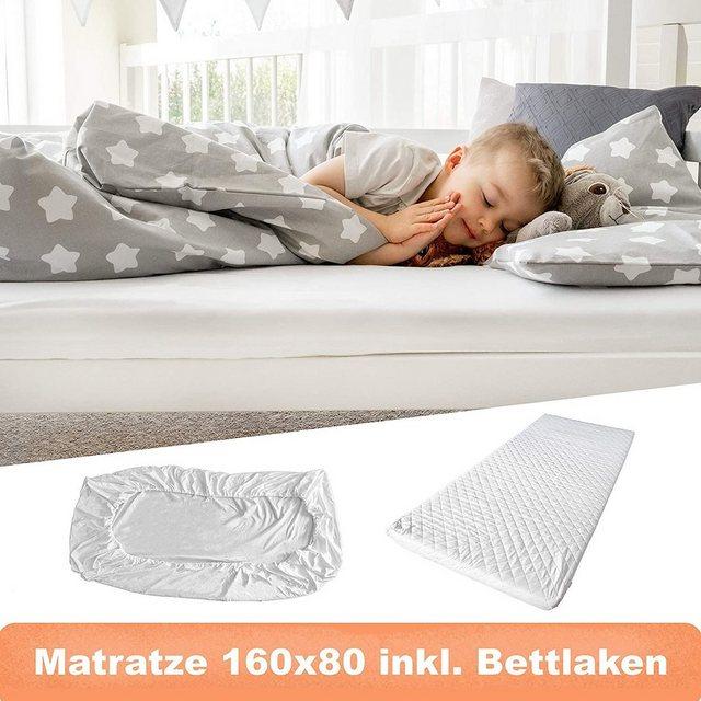 Matratzen und Lattenroste - Kindermatratze »Matratze 80x160 cm SET mit Spannbettlaken und waschbarem Bezug«, Alcube, 10 cm hoch, Komfortschaummatratze 100 Baumwolle Materialien mit Abnehmbarer Bezug  - Onlineshop OTTO