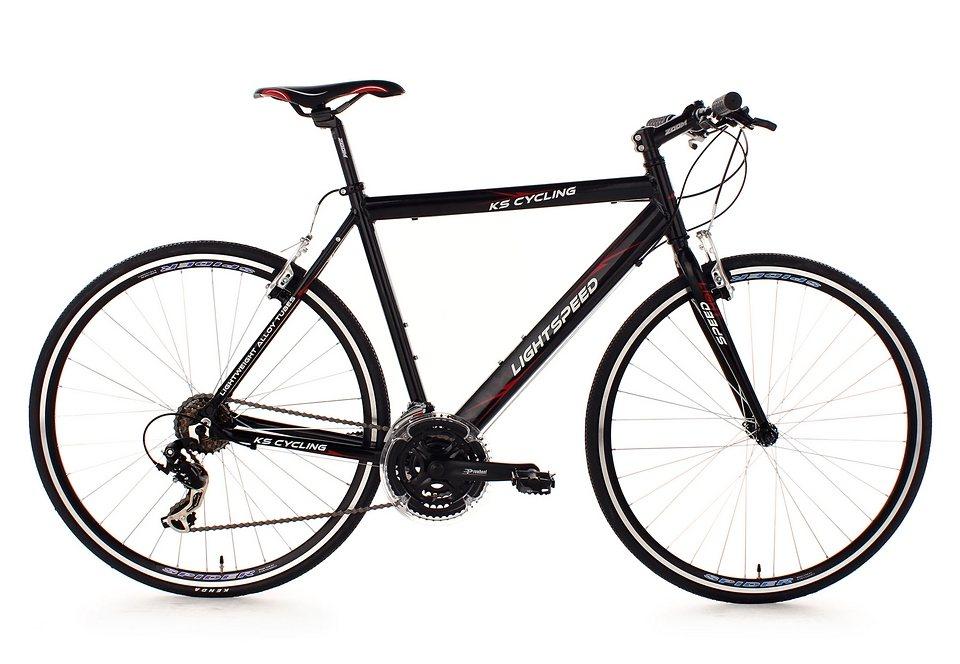 Fitnessbike, KS Cycling, »Lightspeed«, 28 Zoll, schwarz, 21 Gang Shimano Tourney, V-Brakes in schwarz