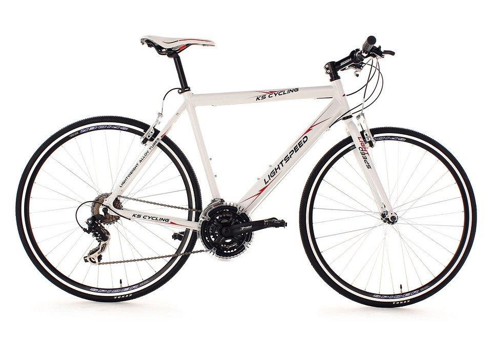 Fitnessbike, KS Cycling, »Lightspeed«, 28 Zoll, weiß 21 Gang Shimano Tourney, V-Brakes in weiß