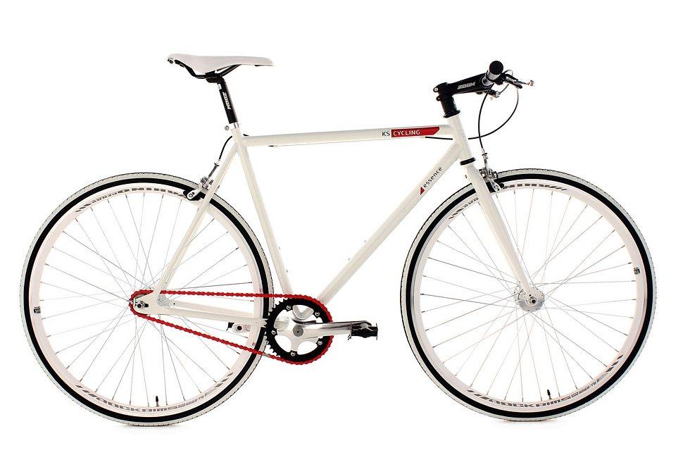 Fitnessbike, KS Cycling, »Essence«, 28 Zoll, weiß 1 Gang (Singlespeed), Freilauf oder Fixed Gear in weiß