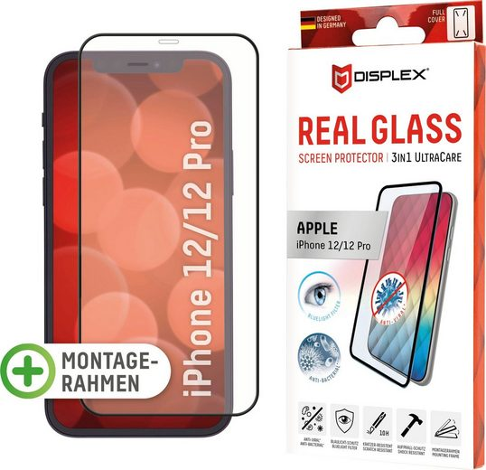 Displex »DISPLEX Ultra Care Glass Panzerglas für Apple iPhone 12/12 Pro (6,1), 10H Tempered Glass, mit Montagerahmen, Full Cover« für Apple iPhone 12/12 Pro, Displayschutzglas, 1 Stück