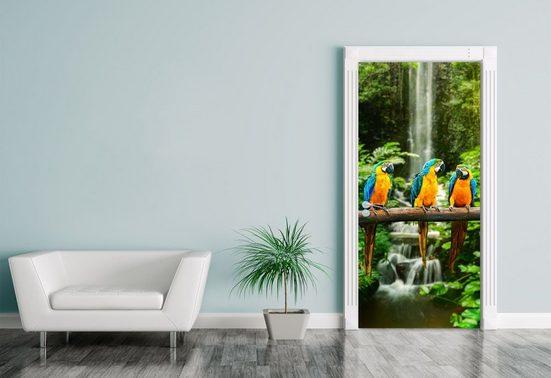 Bilderdepot24 Türtapete, Türaufkleber Blau-Gelber Macaw Papagei, selbstklebendes Vinyl