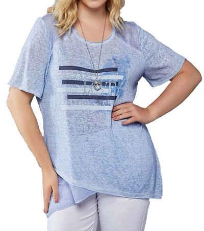 NoSecret T-Shirt »no secret T-Shirt gemütliches Damen Kurzarm-Top Sommer-Shirt mit plakativem Frontprint Große Größen Blau«