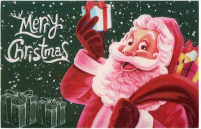 Fußmatte »Merry Christmas«, Home affaire, rechteckig, Höhe 6 mm, Schmutzmatte, In- und Outdoor geeignet