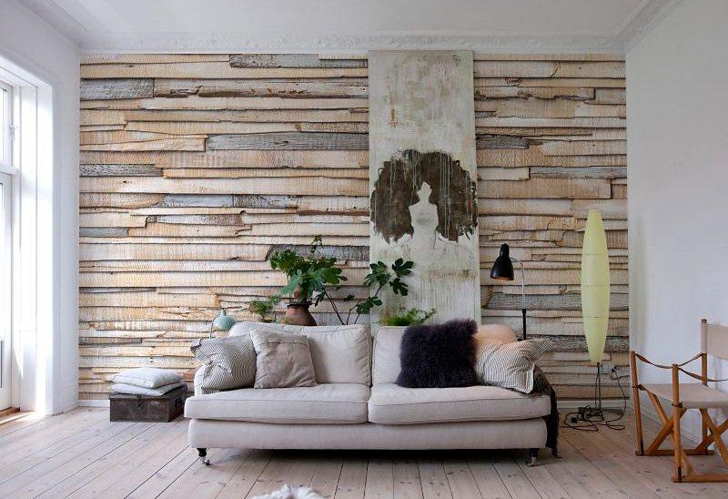 Fototapete, Komar, »Whitewashed Wood«, 368/254 cm in beige/braun