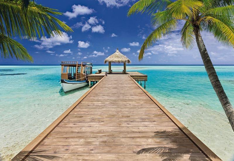 Fototapete, Komar, »Beach Resort«, 368/254 cm in blau/braun