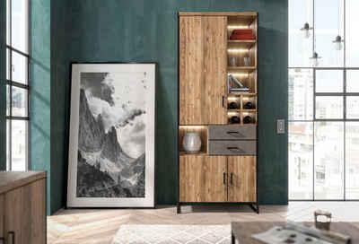 set one by Musterring Vitrine »Modesto« mit 2 Schubladen und 3 Türen, Breite 85 cm, Höhe 212 cm