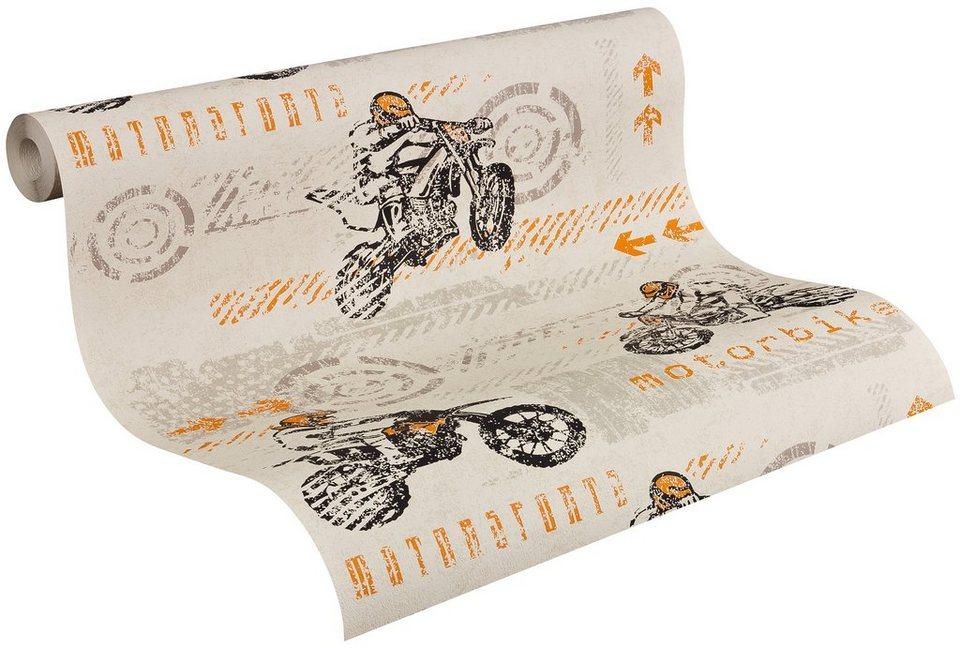 Papiertapete, Livingwalls, »Mustertapete Boys & Girls 4 »Motorbike«« in beige/grau/orange