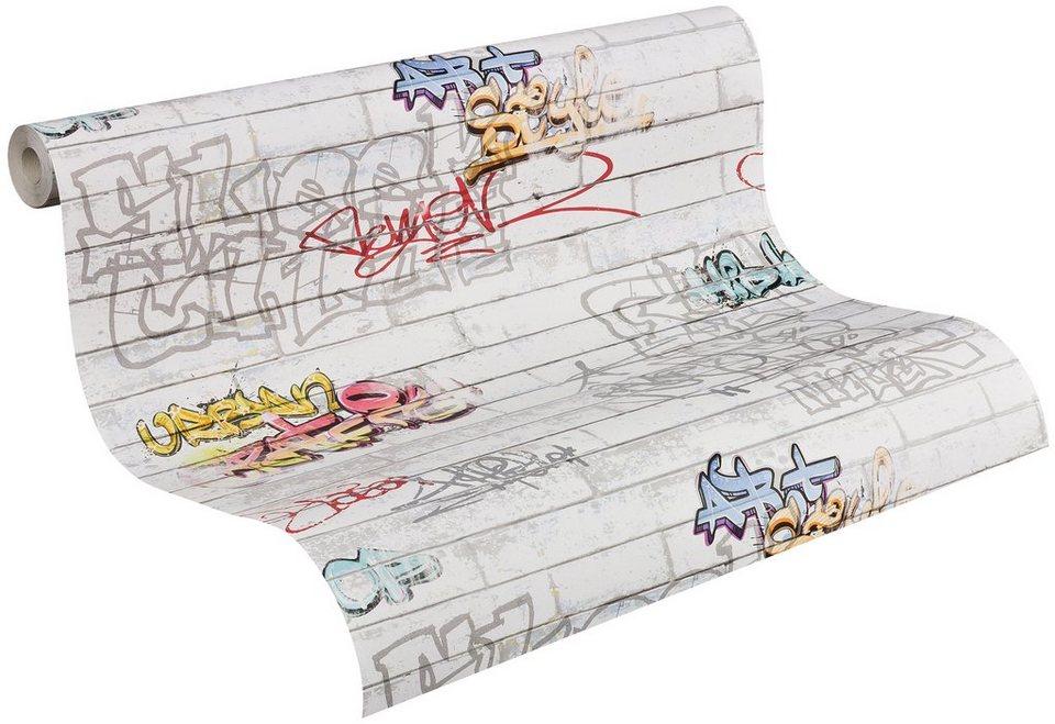 Papiertapete, Livingwalls, »Mustertapete Boys & Girls 4 »Graffities«« in weiss/bunt