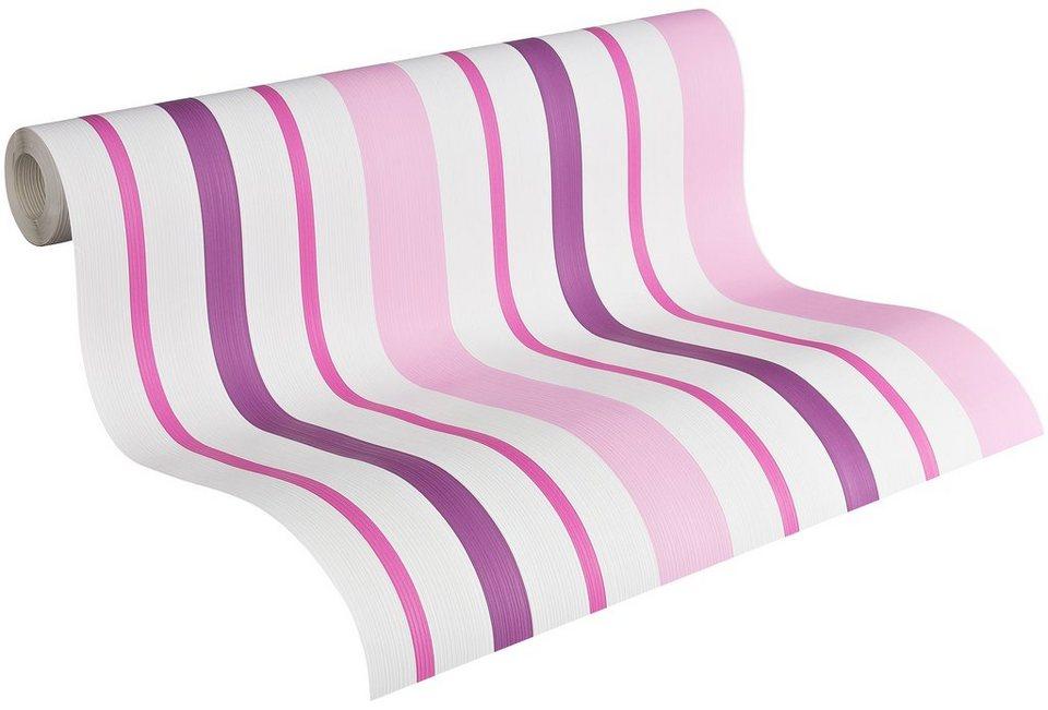 Papiertapete, Livingwalls, »Streifentapete Boys & Girls 4« in rosa/violett/weiss