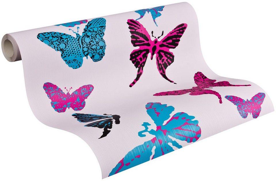 Papiertapete, Livingwalls, »Mustertapete Boys & Girls 4 »Butterflies«« in blau/schwarz/violett