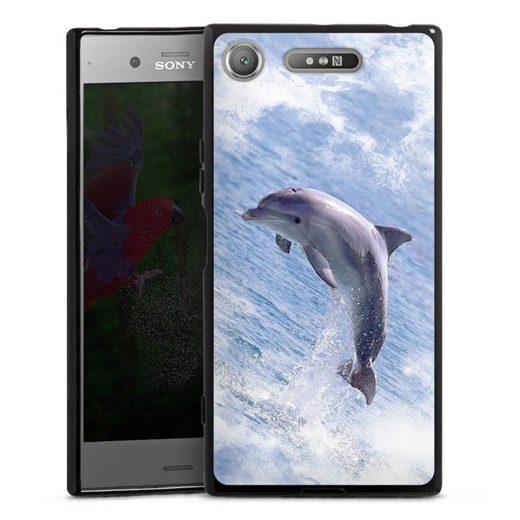 DeinDesign Handyhülle »Springender Delphin« Sony Xperia XZ 1, Hülle Delfine Meer Wal