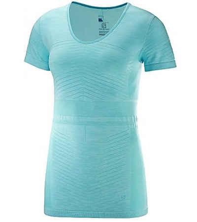 Salomon Funktionsshirt »Salomon Elivate Funktions-Shirt eng anliegendes Damen Outdoor-Shirt Wander-Shirt Türkis«