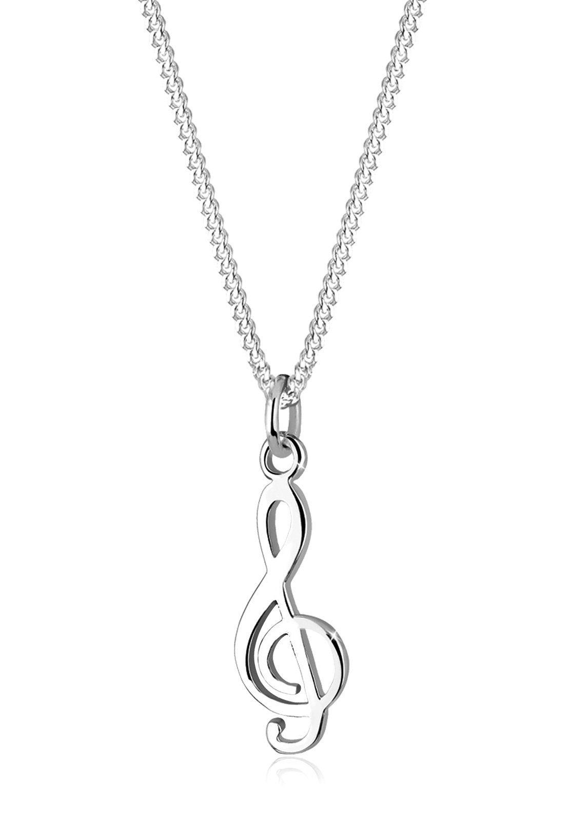 Notenschlüssel Anhänger Violinschlüssel Kettenanhänger Zirkonia 925 Silber neu