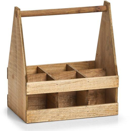 Zeller Present Flaschenkorb, Holz, für 6 Flaschen