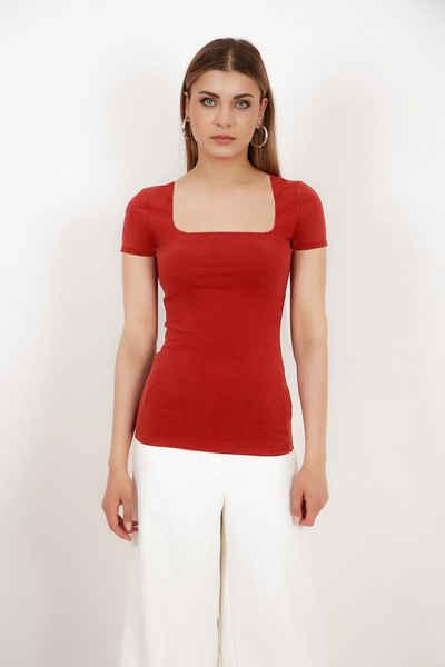 Vivienne Fashion T-Shirt »Hochwertiges Damen Modal Strickshirt mit Karree- Ausschnitt « Innenfutter aus eigenem Stoff