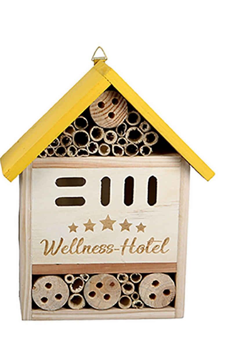 dekojohnson Gartenfigur »Insektenhotel Insektenhaus Gartendeko gelb 20x25cm«