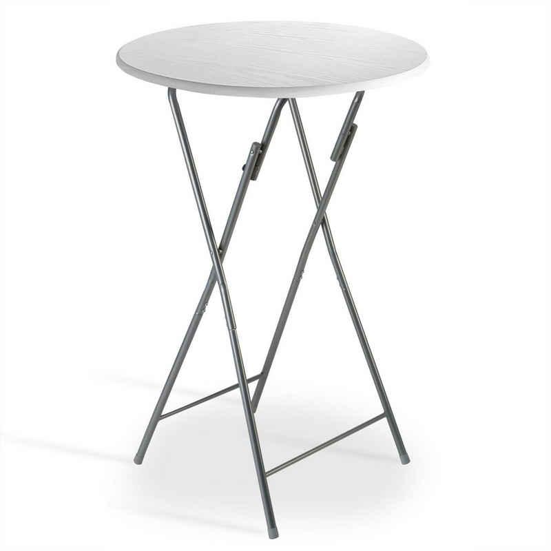 Casaria Stehtisch (1-St), Bistrotisch Ø 60 cm • platzsparend zusammenklappbar • robuste Tischplatte • modernes Design • stabile Konstruktion • lackiertes Stahlgestell • sehr pflegeleicht