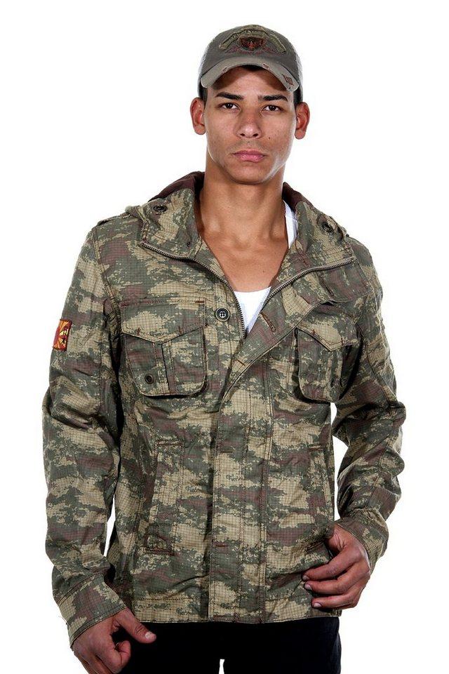 OBOY Streetwear Jacke mit Kapuze in khaki
