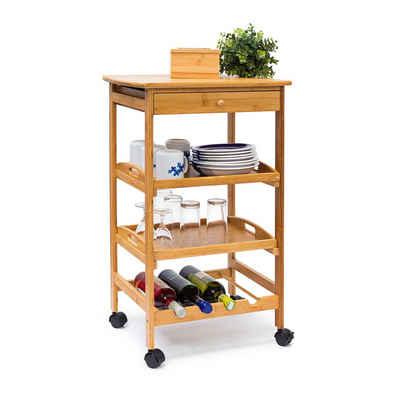 relaxdays Küchenwagen »Küchenrollwagen JAMES L & Flaschenregal«