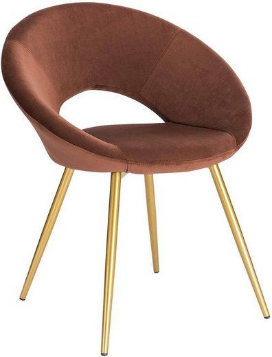 Woltu Esszimmerstuhl »BH230« (1 Stück), Polsterstuhl Wohnzimmerstuhl Sessel, Sitzfläche aus Samt, Gold Metallbeine, Braun