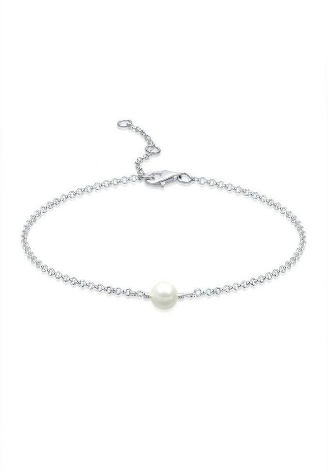 Elli Fußschmuck »Perle 925 Silber« in Weiß