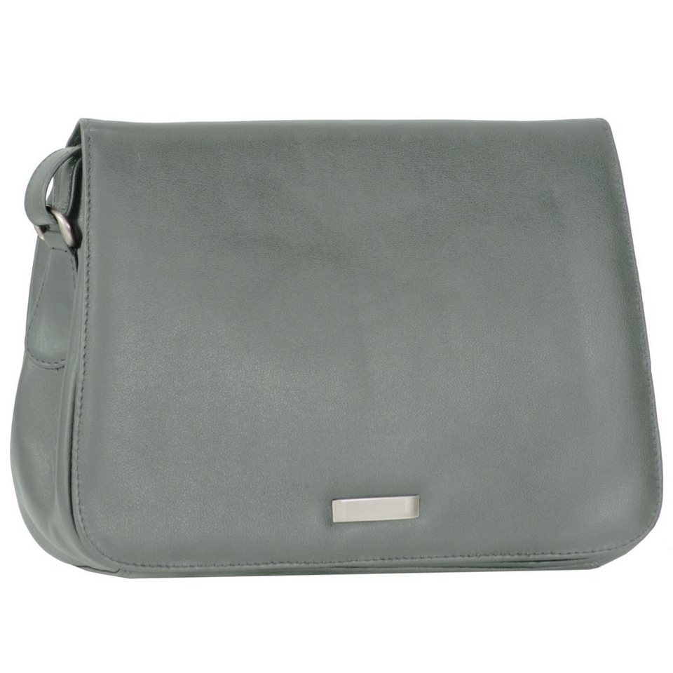 Mika Lederwaren Soft Nappa Damentaschen Flap Bag Leder 25 cm in grau