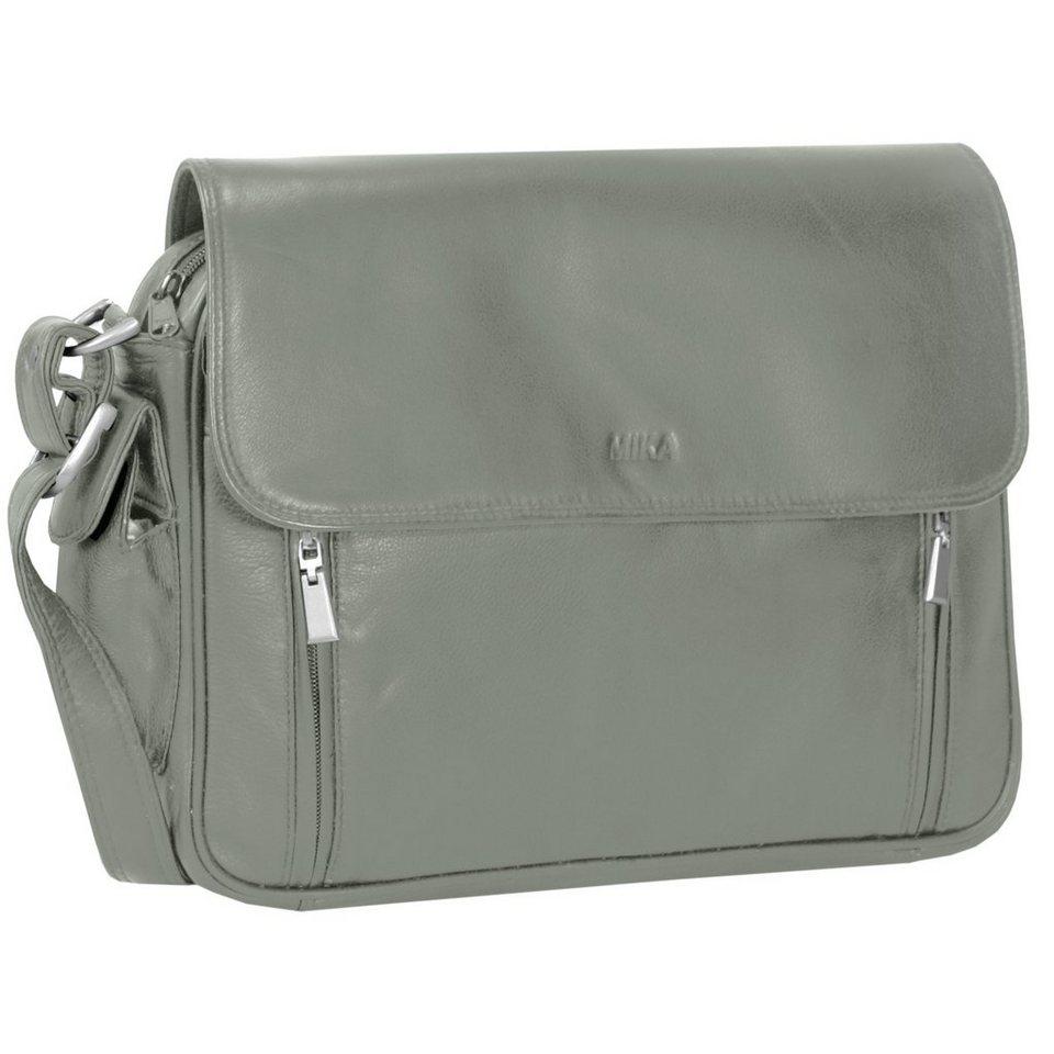 Mika Lederwaren Soft Nappa Damentaschen Umhängetasche Leder 30 cm in grau