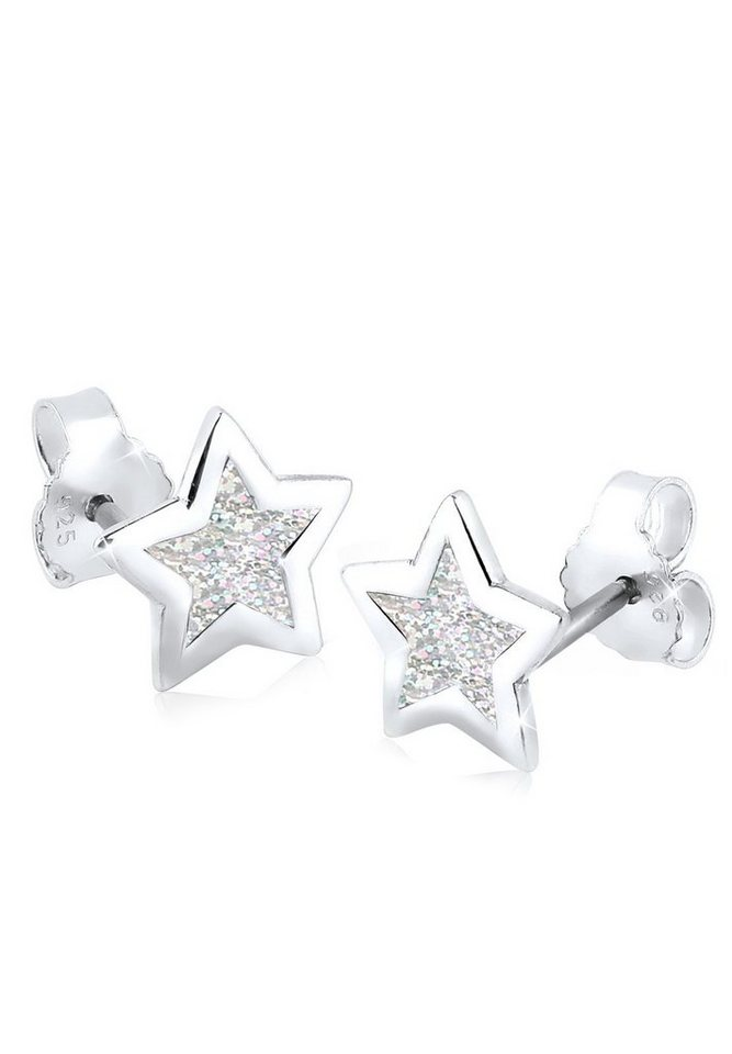 Elli Ohrringe »Stern Silber Emaille« in Grau