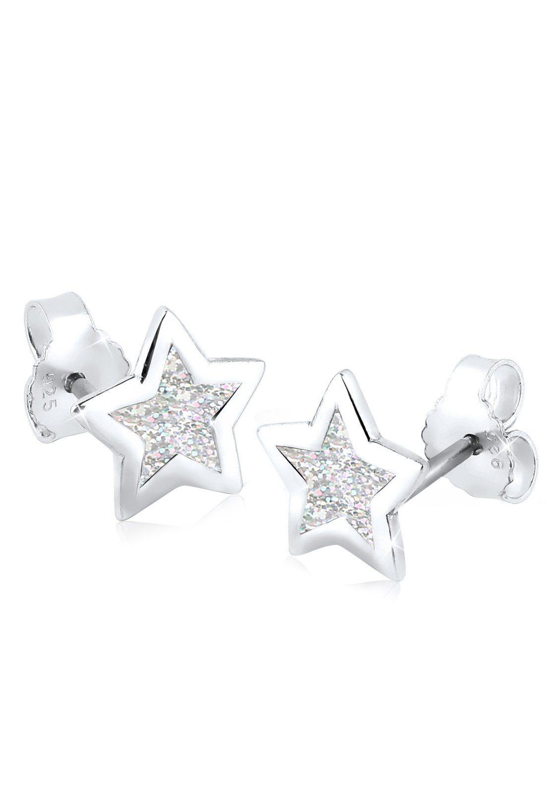 Elli Ohrringe »Stern Emaille Astro Trend Filigran 925 Silber«