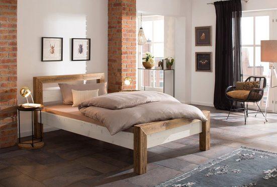Home affaire Massivholzbett »Jacob«, aus recyceltem antiken Holz, in 4 verschiedenen Größen