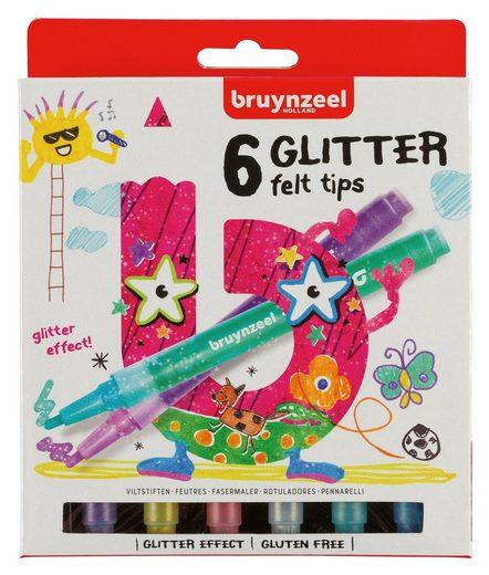 Bruynzeel Faserstift »Filzstifte Glitter«, 6tlg