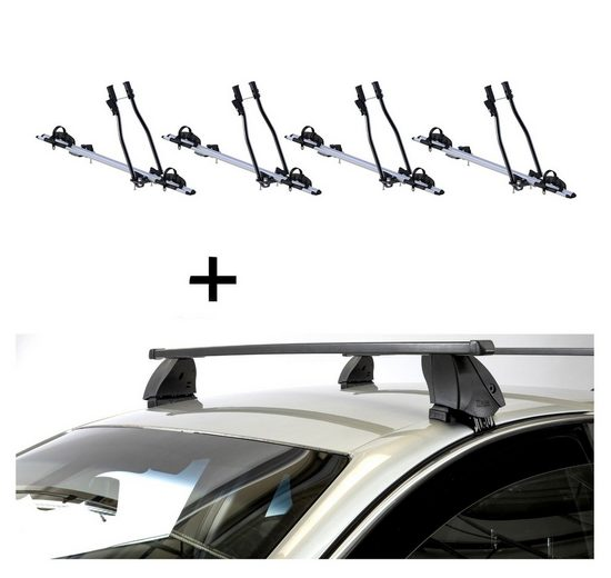 VDP Fahrradträger, 4x Fahrradträger SAGITTAR + Dachträger K1 MEDIUM kompatibel mit Mitsubishi L200 / Triton IV (4Türer) 06-15