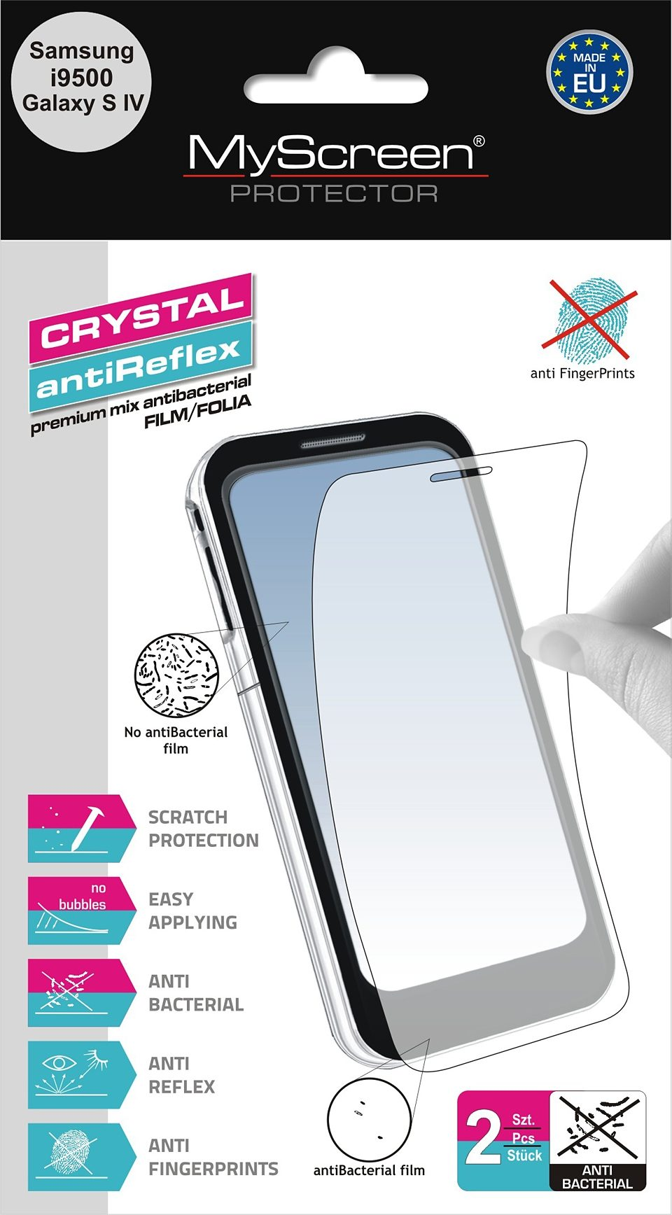 MYSCREEN Schutzfolien Mix »antiBacterial Galaxy S4«