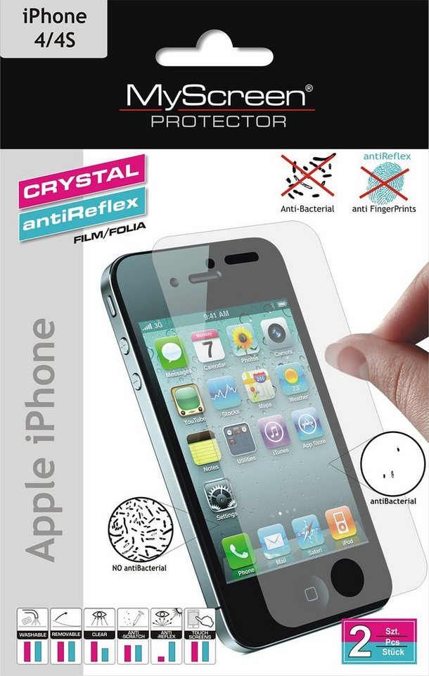 MYSCREEN Schutzfolien Mix »antiBacterial iPhone4/4s«