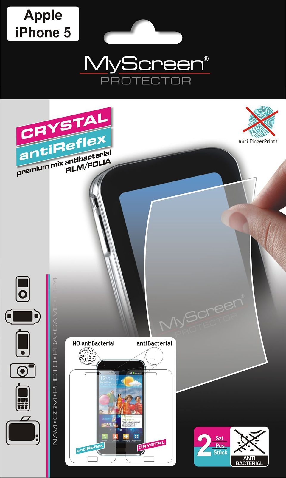 MYSCREEN Schutzfolien Mix »antiBacterial iPhone 5«