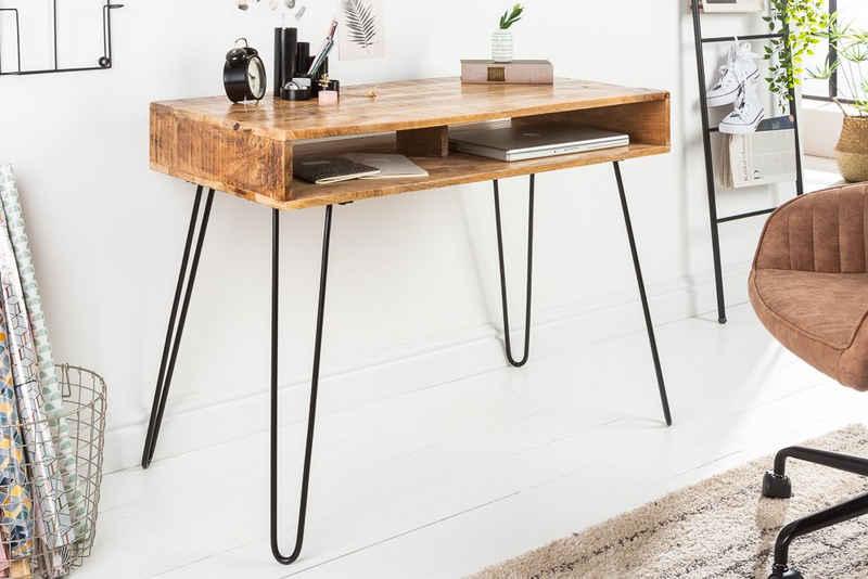 riess-ambiente Schreibtisch »SCORPION 100cm natur«, Arbeitszimmer · Massivholz · Metall · Hairpin Legs · Retro · Home Office