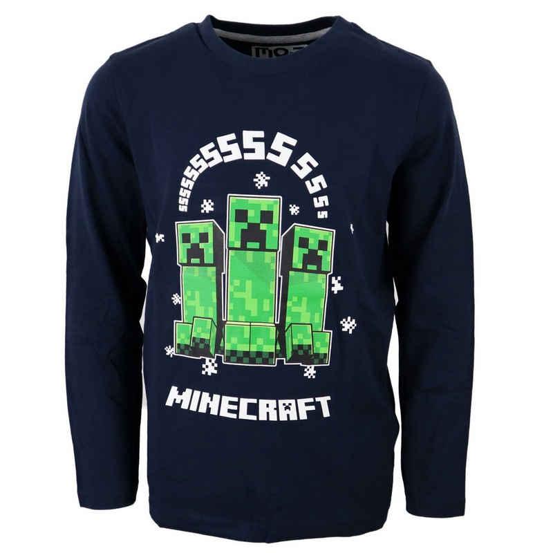 Minecraft Langarmshirt »Creeper Gamer Kinder Shirt« Gr. 116 bis 152, 100% Baumwolle, in Schwarz
