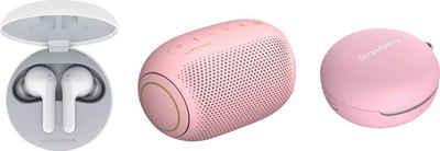 LG »FN4 Macaron Jellybean Hardbundle« In-Ear-Kopfhörer (Sprachsteuerung, Noise-Reduction, LED Ladestandsanzeige, True Wireless, Google Assistant, Siri, Bluetooth, + Bluetooth-Speaker (UVP 69,99) + Macaron Case (UVP 9,99)
