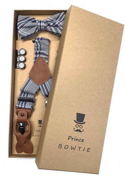 Prince Bowtie Hosenträger »Hosenträger Set mit Fliege im Vintage Style« Prince Bowtie Hosenträger Set mit Fliege im Vintage Style