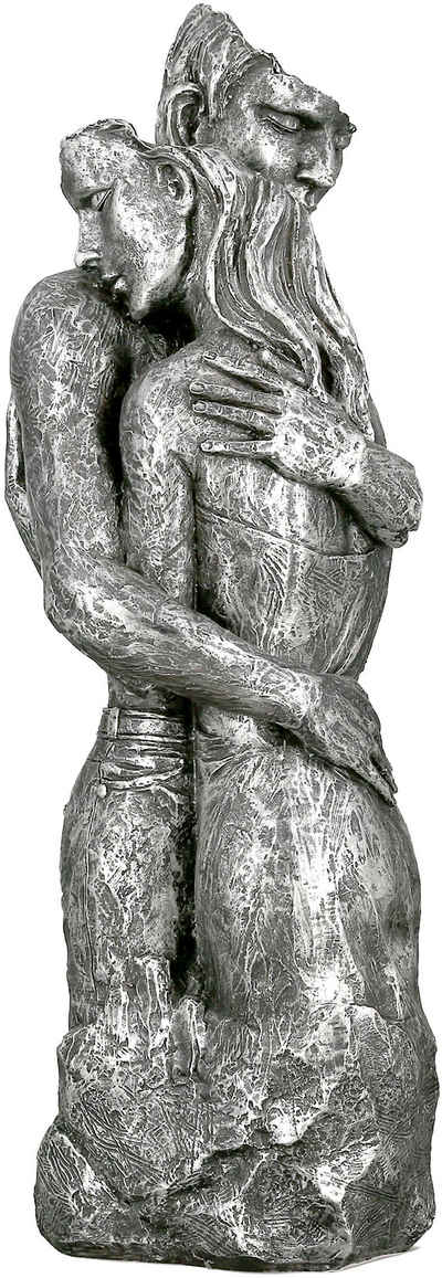 GILDE Dekofigur »Skulptur Embrace, silberfarben« (1 Stück), Dekoobjekt, Höhe 49, umarmendes Pärchen, antikfinish, mit Spruchanhänger, Wohnzimmer