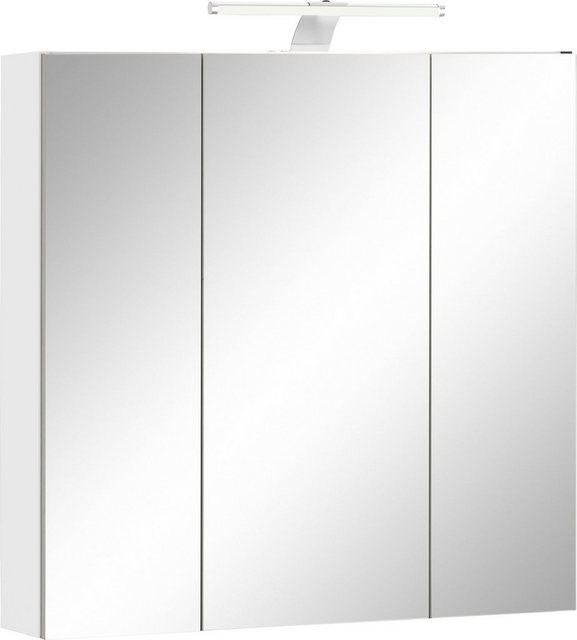 Spiegel - Schildmeyer Spiegelschrank »Lagona« Breite 70 cm, 3 türig, LED Beleuchtung, Schalter Steckdosenbox, Glaseinlegeböden, Made in Germany  - Onlineshop OTTO